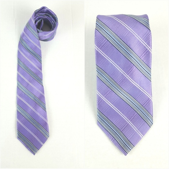 MICHEAL KORS| Purple Stripe Silk Tie